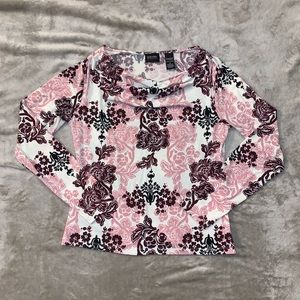 NY&Co Pink & Maroon Flower Top